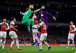 LONDON, ENGLAND - Saturday, November 3, 2018: Arsenal's goalkeeper Bernd Leno (L) and Liverpool's Virgil van Dijk  during the FA Premier League match between Arsenal FC and Liverpool FC at Emirates Stadium. (Pic by David Rawcliffe/Propaganda)