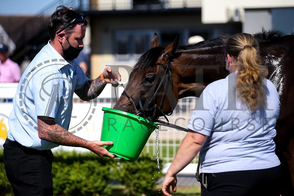 Shoot to Kill ridden by Callum Shepherd and trained by George Scott drinks water after winning the Visit attheraces.com Maiden Stakes (Class 5) (3YO plus) - Mandatory by-line: Robbie Stephenson/JMP - 25/06/2020 - HORSE RACING - Bath Racecoure - Bath, England - Bath Races 25/06/20