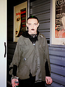 Marilyn Manson fan queuing outside the London Arena, London, 2001.