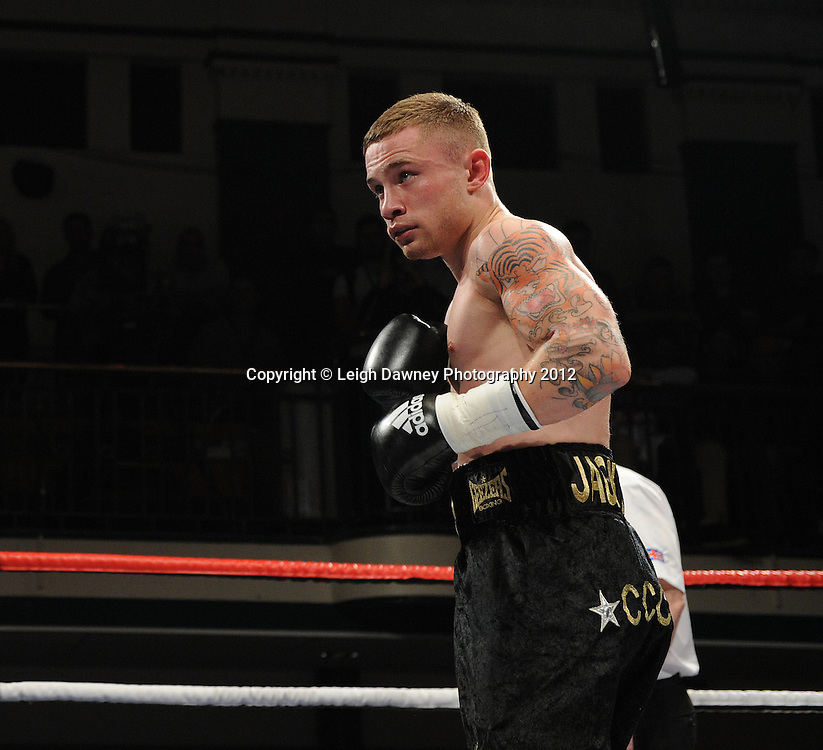 Carl Frampton (pictured) defeats Kris Hughes for The Commonwealth  Super Bantamweight Title on the 28th January 2012 at York Hall, Bethnal Green, London. Matchroom Sport. © Leigh Dawney Photography 2012.