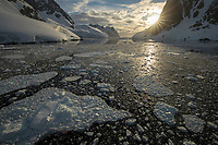 Setting of the midnight sun, New Years eve 2018, Lemaire Channel, Antarctica