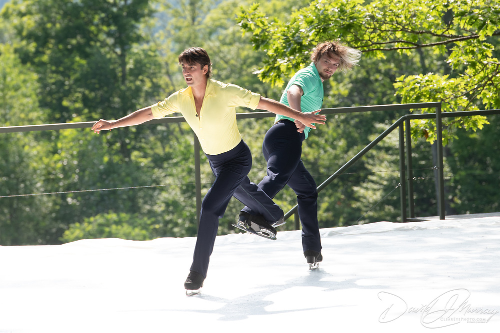 Alper Ucar and Matej Silecky of Ice Dance International perform on the outdoor stage at Jacobs Pillow, July 2019