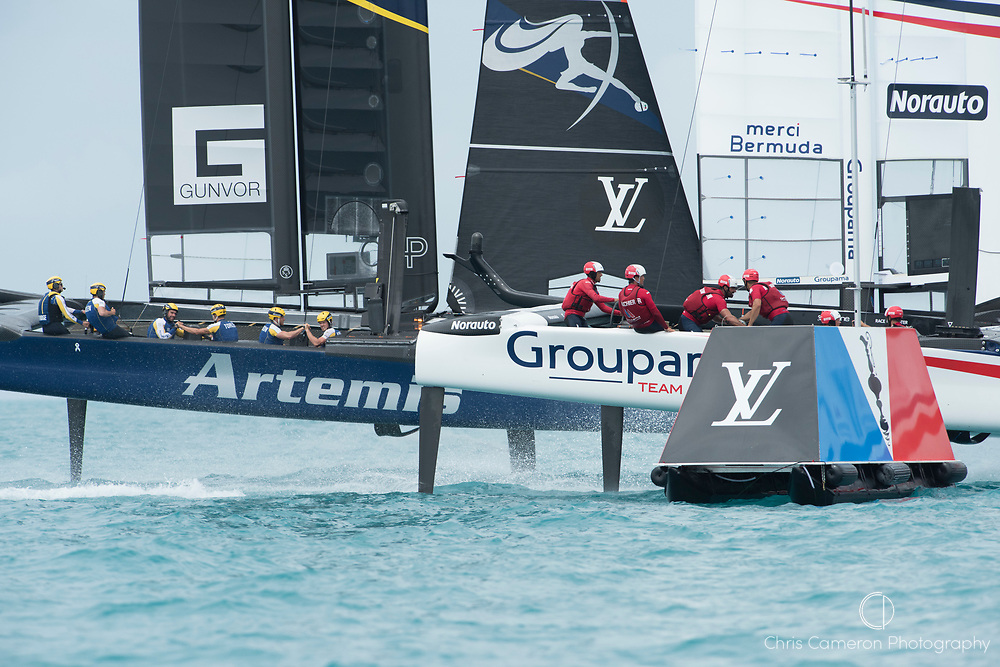 The Great Sound, Bermuda. 3rd June 2017. Artemis Racing (SWE) and Groupama Team France start their America's Cup Qualifiers Round Robin two match. Artemis won the race.