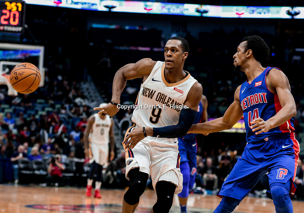Jan 8, 2018; New Orleans, LA, USA; New Orleans Pelicans guard Rajon Rondo (9) passes as Detroit Pistons guard Ish Smith (14) defends during the second half at the Smoothie King Center. The Pelicans defeated the Pistons 112-109. Mandatory Credit: Derick E. Hingle-USA TODAY Sports