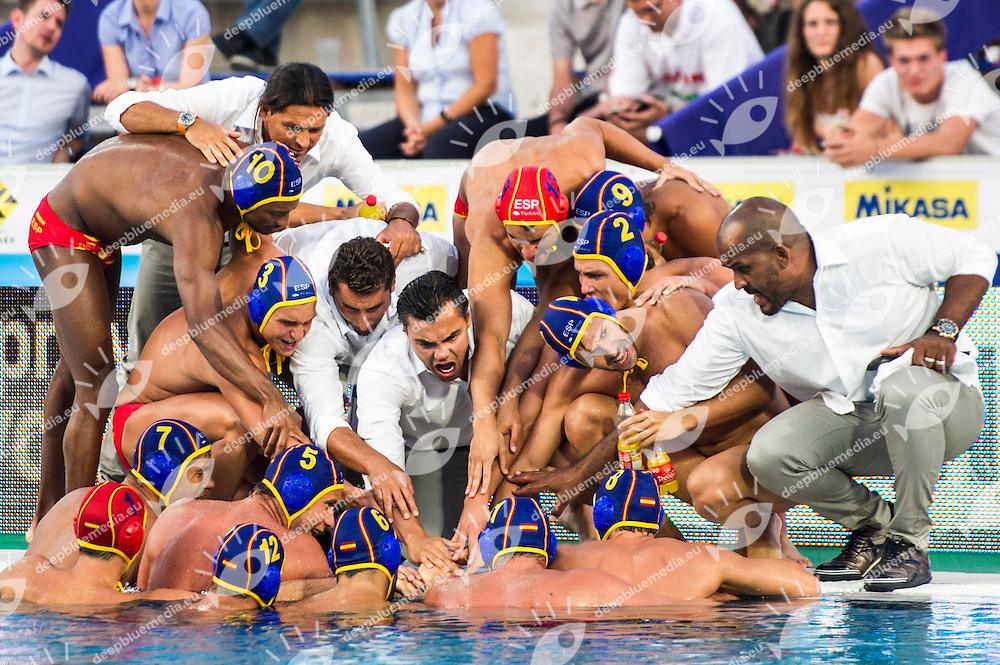 Team Spain<br /> CRO(white) vs ESP(blue)<br /> LEN European Water Polo Championships 2014<br /> Alfred Hajos -Tamas Szechy Swimming Complex<br /> Margitsziget - Margaret Island<br /> Day02 - July 15 <br /> Photo G. Scala/Inside/Deepbluemedia