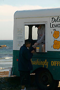 Middletown, RI - Del's Lemonade trucks still serve frozen lemonade at summer spots along the Rhode Island coast.  This one at second beach (sachusest) in Middletown near Newport