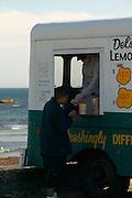 Middletown, RI - Del's Lemonade trucks still serve frozen lemonade at summer spots along the Rhode Island coast.  This one at second beach (sachusest) in Middletown near Newport