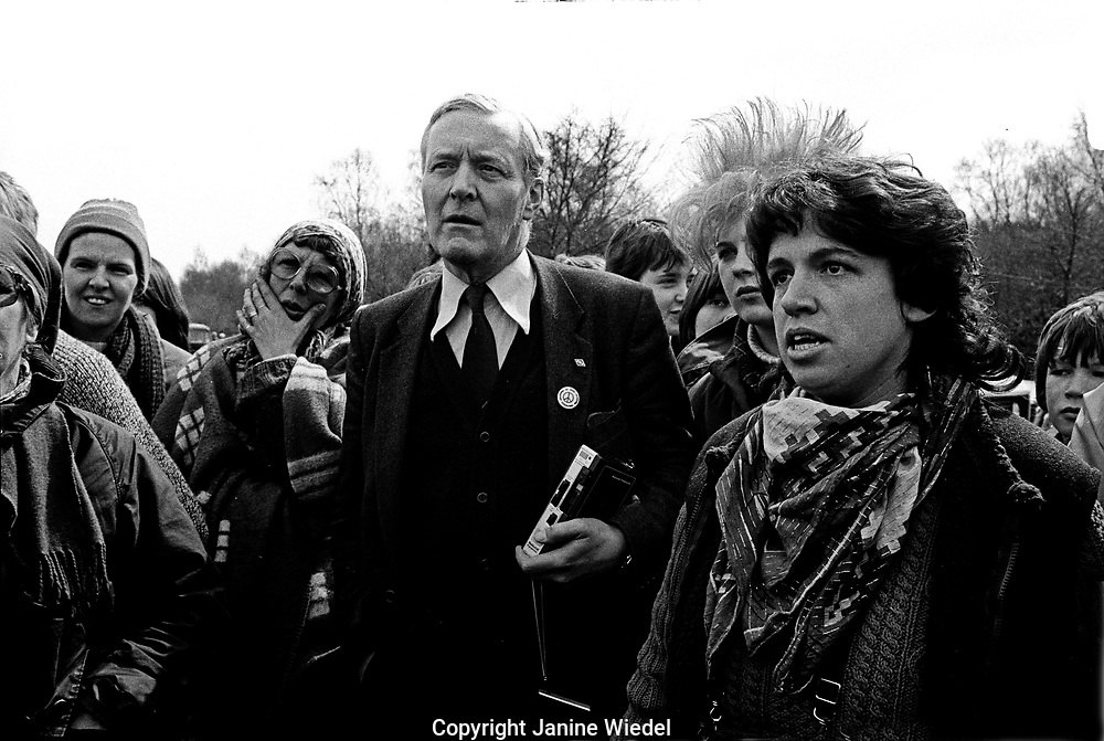 Tony Benn visiting the anti-nuclear Greenham Common Women's Peace Camp in 1983 / 1984. The women only camp surrounded the RAF  base in Berkshire (UK) where American cruise missiles were being stored.
