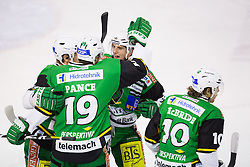 23.10.2012. Hala Tivoli, Ljubljana, SLO, EBEL, HDD Telemach Olimpija Ljubljana vs HC TWK Innsbruck Die Haie, 15. Runde, in picture Players of HDD Telemach Olimpija celebrate during the Erste Bank Icehockey League 15th Round match between HDD Telemach Olimpija Ljubljana and HC TWK Innsbruck Die Haie at the Hala Tivoli, Ljubljana, Slovenia on 2012/10/23. (Photo By Matic Klansek Velej / Sportida)