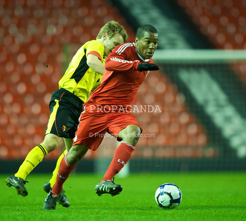 LIVERPOOL, ENGLAND - Monday, February 8, 2010: Liverpool's Andre Wisdom in action against Watford during the FA Youth Cup 5th Round match at Anfield. (Pic by David Rawcliffe/Propaganda)