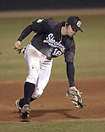 Wichita State second basemen fields the short hopper in the bottom of the second inning against Kansas State.  K-State defeated the 19th ranked Shockers 6-3 at Tointon Stadium in Manhattan, Kansas, March 14, 2006.