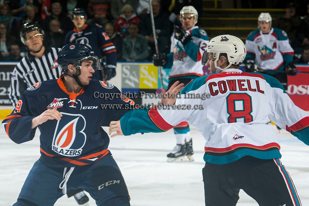 KELOWNA, CANADA - MARCH 24: Jackson Shepard #9 of the Kamloops Blazers drops the gloves with Jack Cowell #8 of the Kelowna Rockets during first period on March 24, 2017 at Prospera Place in Kelowna, British Columbia, Canada.  (Photo by Marissa Baecker/Shoot the Breeze)  *** Local Caption ***