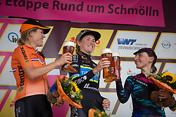 The top three on Stage 4 of the Lotto Thuringen Ladies Tour - a 18.7 km individual time trial, starting and finishing in Schmolln on July 16, 2017, in Thuringen, Germany. (Photo by Balint Hamvas/Velofocus.com)