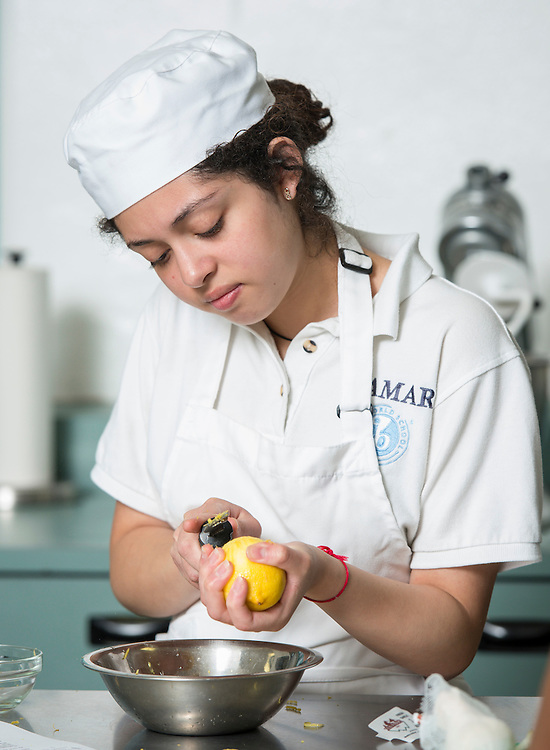 Culinary students prepare lunch for the Lamar High School M Cafe, October 13, 2014.