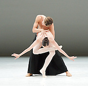 Dutch National Ballet <br /> Hans Van Manen - Master of Dance<br /> Grosse Fuge<br /> rehearsal / photocall<br /> 12th May 2011<br /> at Sadler's Wells. London, Great Britain <br /> <br /> Igone de Jongh<br /> Matthew Golding <br /> <br /> Photograph by Elliott Franks