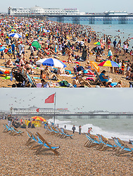 © Licensed to London News Pictures. Comparison picture showing warm weather conditions on Brighton Beach today, 25/08/2019 (TOP) and cold and damp conditions a week ago on 17/08/2019 (BOTTOM). Photo credit: Hugo Michiels/LNP