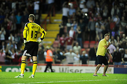 Bristol City fans invade the pitch as Bristol City's Elliott Parish looks on - Photo mandatory by-line: Dougie Allward/JMP - Tel: Mobile: 07966 386802 04/09/2013 - SPORT - FOOTBALL -  Ashton Gate - Bristol - Bristol City V Bristol Rovers - Johnstone Paint Trophy - First Round - Bristol Derby