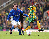 PICTURE BY DANIEL HAMBURY/SPORTSBEAT IMAGES<br />Nationwide Football League Division One    7/3/04<br /><br />NORWICH V IPSWICH<br /><br />Norwich City's Damien Francis and Ipswich Town's Jim Magilton