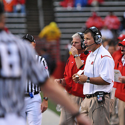 Sep 12, 2009; Piscataway, NJ, USA; Rutgers head coach Greg Schiano looks on during the second half of Rutgers' 45-7 victory over Howard in NCAA college football at Rutgers Stadium