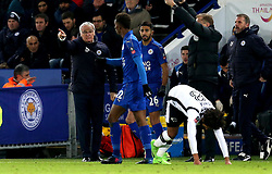 Leicester City manager Claudio Ranieri gives instructions to Demarai Gray of Leicester City - Mandatory by-line: Robbie Stephenson/JMP - 08/02/2017 - FOOTBALL - King Power Stadium - Leicester, England - Leicester City v Derby County - Emirates FA Cup fourth round replay