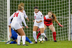 NORMAL, IL - October 17:  Alissa Ramsden, Emily Adelman, Haley Smith during an NCAA Missouri Valley Conference (MVC)  women's soccer match between the Indiana State Sycamores and the Illinois State Redbirds October 17 2018 on Adelaide Street Field in Normal IL (Photo by Alan Look)