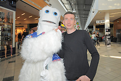 Arsen Peric, photographer of newspaper Ekipa, with mascot Jeti at Presentation of Slovenian Ice Hockey Team at Mercator Center, on April 22, 2011, in Mercator Center, Ljubljana, Slovenia. (Photo by Matic Klansek Velej / Sportida)