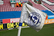 Wigan FC corner flag, EFL Sky Bet Championship match between Wigan Athletic and Huddersfield Town at the DW Stadium, Wigan, England on 14 December 2019.