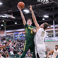 1st year guard Benjamin Hillis (8) of the Regina Cougars in action during the home game on January  14 at Centre for Kinesiology, Health and Sport. Credit: /Arthur Images