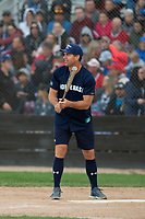 KELOWNA, CANADA - JUNE 28: Retired NHL player Todd Simpson steps up to bat during the opening charity game of the Home Base Slo-Pitch Tournament fundraiser for the Kelowna General Hospital Foundation JoeAnna's House on June 28, 2019 at Elk's Stadium in Kelowna, British Columbia, Canada.  (Photo by Marissa Baecker/Shoot the Breeze)
