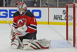 Feb 9; Newark, NJ, USA; New Jersey Devils goalie Johan Hedberg (1) makes a blocker save during the first period of their game against the St. Louis Blues at the Prudential Center.