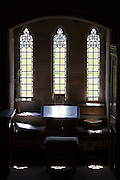 Windows inside Iona Abbey ancient monument on Isle of Iona in the Inner Hebrides and Western Isles, Scotland