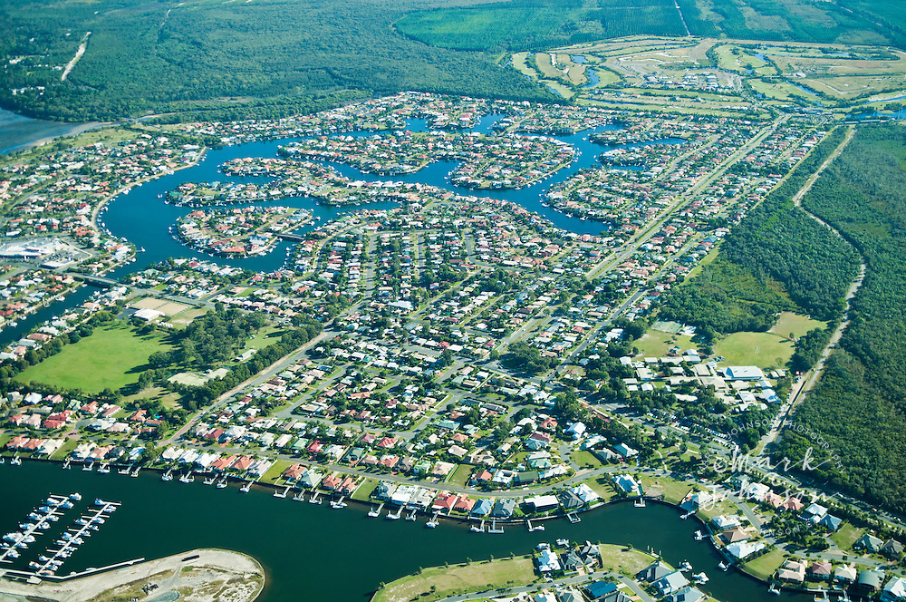 Aerial view of Banksia Beach canal development, Bribie Island, Queensland, Australia