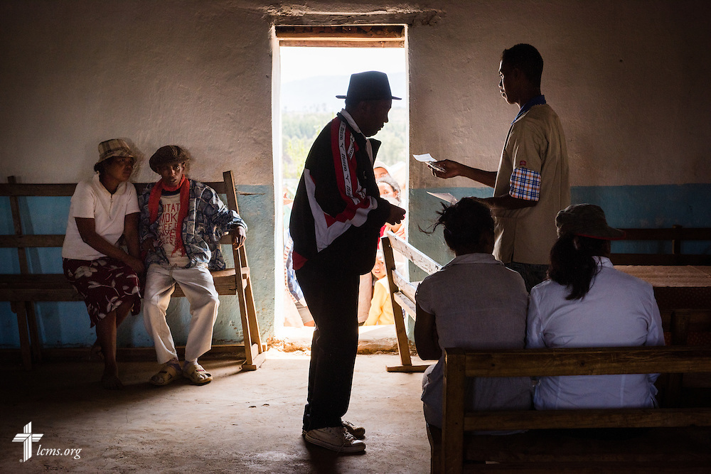 A man receives a prescription during the Mercy Medical Team clinic on Saturday, Oct. 18, 2014, at a Fiangonana Loterana Malagasy (FLM) Lutheran church in Antsoantany, Madagascar. LCMS Communications/Erik M. Lunsford