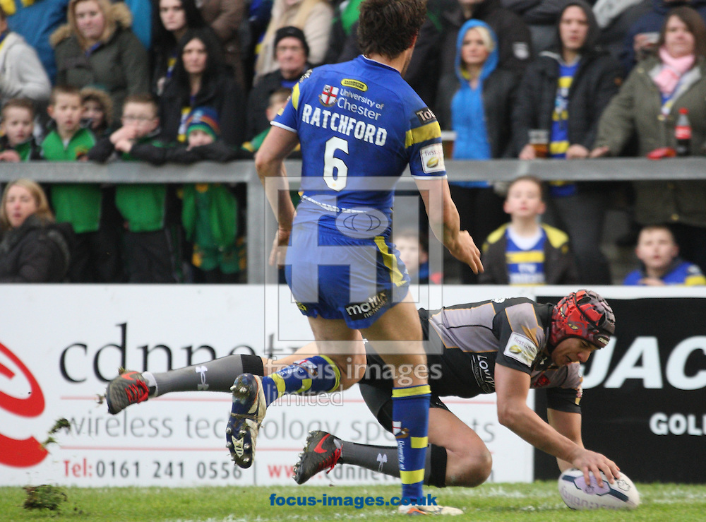 Ben Jones-Bishop of Salford Red Devils scores his 1st try against Warrington Wolves during the First Utility Super League match at the Halliwell Jones Stadium, Warrington<br /> Picture by Stephen Gaunt/Focus Images Ltd +447904 833202<br /> 07/02/2015