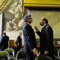 Conference on Disarmament. Year 33, 2012 Session 1, Plenary meeting 1253. Presidency of Egypt<br /> <br /> Exchange of views betweeen Ambassador Badr of Egypt and Ambasador Akram of Pakistan following the end of a meeting concerning&nbsp; draft document CD/1933, the first attempt to agree on a program of work since 2009.&nbsp;In the next session, the document was put to the conference, and Pakistan vetoed it.