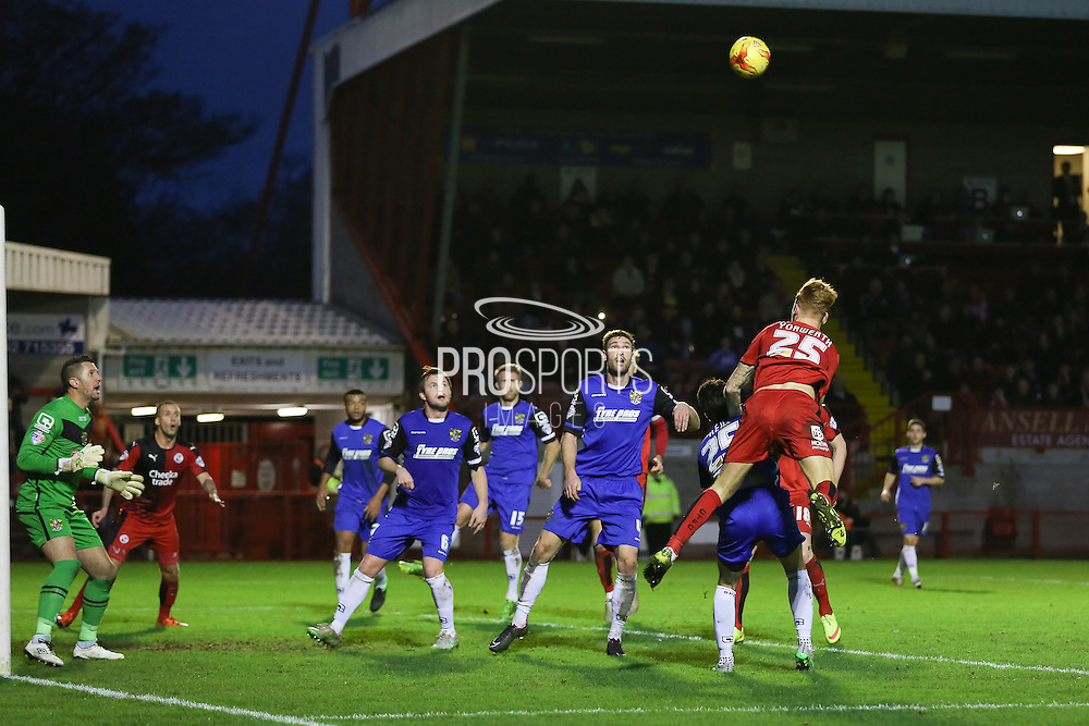 Josh Yorwerth of Crawley Town wins the battle in the air during the Sky Bet League 2 match between Crawley Town and Stevenage at the Checkatrade.com Stadium, Crawley, England on 26 December 2015. Photo by Phil Duncan.
