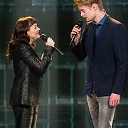 NLD/Hilversum/20180216 - Finale The voice of Holland 2018, Jennie Lena en Jim van der Zee treden op