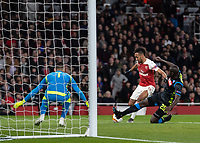 Football - 2018 / 2019 UEFA Europa League - Quarter Final, First Leg Arsenal vs. Napoli <br /> <br />  Pierre-Emerick Aubameyang (Arsenal FC) tries to get his shot away as Piotr Zielinski (Napoli) attempts to block at The Emirates.<br /> <br /> COLORSPORT/DANIEL BEARHAM