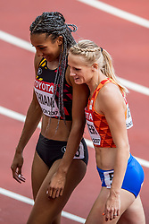 05-08-2017 IAAF World Championships Athletics day 2, London<br /> Anouk Vetter NED (zevenkamp) in actie op de 100 meter horden. Nafissatou Thiam BEL