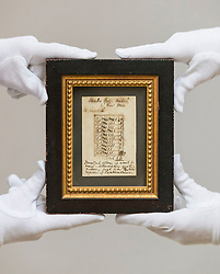 Bonhams Sporting Sale will take place on Wednesday 1 May in Edinburgh. The sale will include the oldest golf scorecard in the world.<br /> <br /> Pictured: The oldest scorecard in the world. Framed and mounted, the card dates from 2 December 1820. It shows that a Mr. Cundell played the five holes within the Musselburgh Race Track twice, a total of ten holes in 84 strokes. Estimate:  £2,500-3,500.