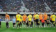 Players Shake hands before the match,  A-League football pre season match - Wellington Phoenix v Brisbane Roar at Forsyth Barr Stadium, Dunedin, New Zealand on Saturday, 20 August 2011. Photo: Richard Hood/photosport.co.nz