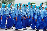 Young arab women take part in an anniversary parade, Abu Dhabi