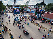 14 AUGUST 2019 - DES MOINES, IOWA: People ride the Sky Glider above the fairgrounds at the Iowa State Fair. The Iowa State Fair is one of the largest state fairs in the U.S. More than one million people usually visit the fair during its ten day run. The 2019 fair run from August 8 to 18.                PHOTO BY JACK KURTZ