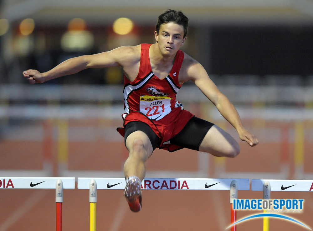 Apr 7, 2012; Arcadia, CA, USA; Devon Allen of Brophy Prep wins the 300m hurdles in the Arcadia Invitational at Arcadia High.
