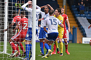 Bury Forward, Jermaine Beckford (9) reacts to another Bury miss during the EFL Sky Bet League 1 match between Bury and Milton Keynes Dons at the JD Stadium, Bury, England on 30 September 2017. Photo by Mark Pollitt.