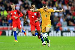 Brad Smith of Australia is chased by Marcus Rashford of England  - Mandatory by-line: Matt McNulty/JMP - 27/05/2016 - FOOTBALL - Stadium of Light - Sunderland, United Kingdom - England v Australia - International Friendly