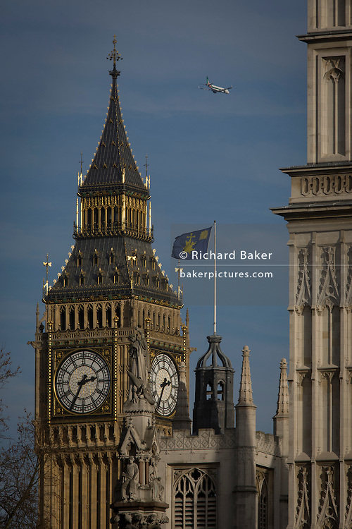 Big Ben and other Westminster architecture in central London.
