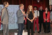 2019, April 01. Hotel Sofitel Legend the Grand, Amsterdam, the Netherlands. Hans Cornelissen and Vajen van den Bosch at the press presentation of Kinky Boots.
