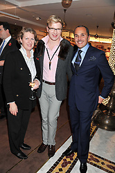 Left to right, COLLETE CONWAY, her son HENRY CONWAY and the Deputy Head of Mission at the Embassy of the Kingdom of Morocco in the UK OTHMANE BAHNINI at the Inspiring Morocco launch held at Harrods, Knightsbridge, London on 3rd November 2011.