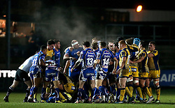 A scuffle breaks out between the players of Newport Gwent Dragons and Worcester Warriors - Mandatory by-line: Robbie Stephenson/JMP - 16/12/2016 - RUGBY - Rodney Parade - Newport, Wales - Newport Gwent Dragons v Worcester Warriors - European Rugby Challenge Cup